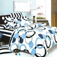 Artistic Blue - 100% Cotton 3PC Duvet Cover set (Twin Size)